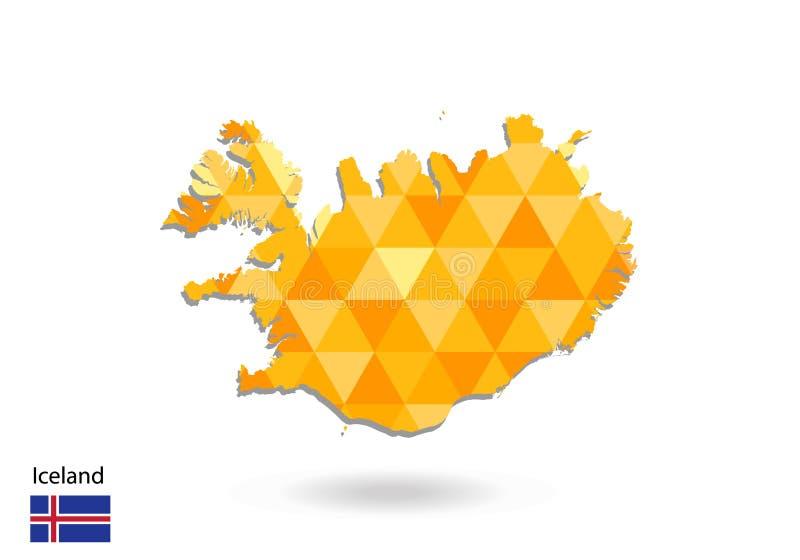 Mapa poligonal geométrico del vector del estilo de Islandia Mapa polivinílico bajo de Islandia libre illustration