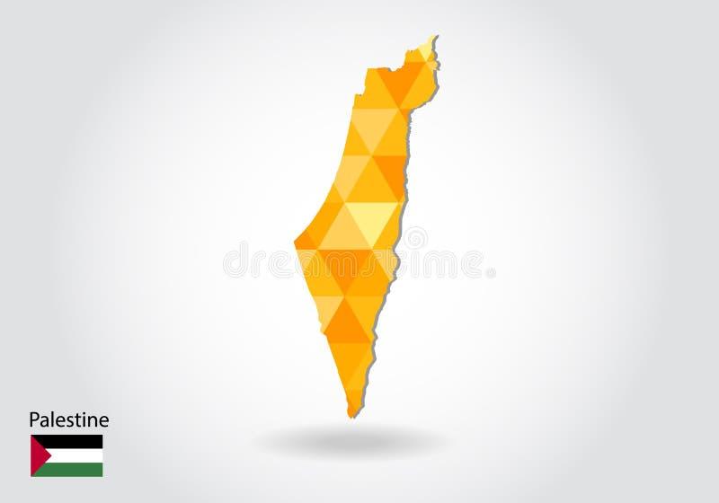 Mapa poligonal geométrico del vector del estilo de Palestina Mapa polivinílico bajo de Palestina ilustración del vector