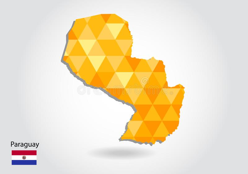 Mapa poligonal geométrico del vector del estilo de Paraguay Mapa polivinílico bajo de Paraguay stock de ilustración