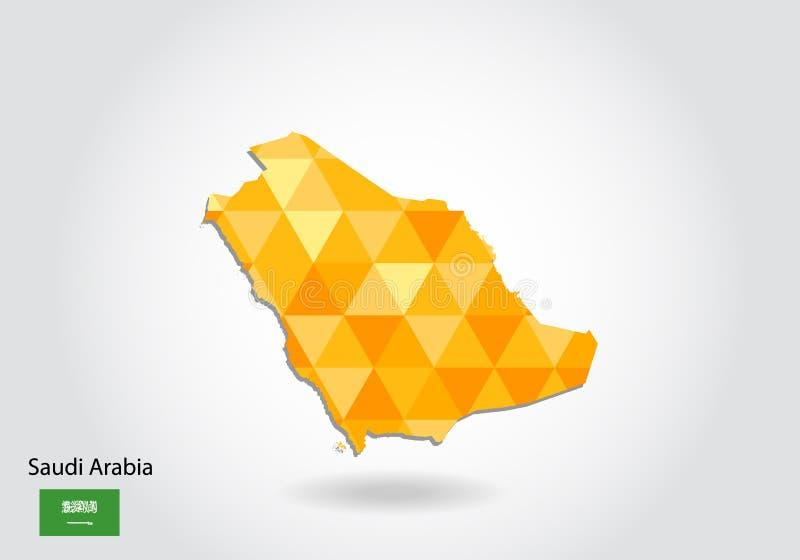 Mapa poligonal geométrico do vetor do estilo de Arábia Saudita ilustração do vetor