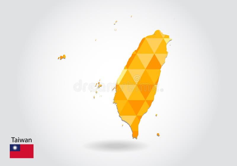 Mapa poligonal geométrico do vetor do estilo de Taiwan Baixo mapa poli de Taiwan ilustração stock