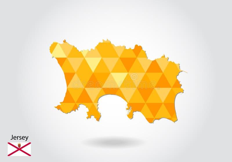 Mapa poligonal geométrico do vetor do estilo do jérsei Baixo mapa poli do jérsei ilustração royalty free