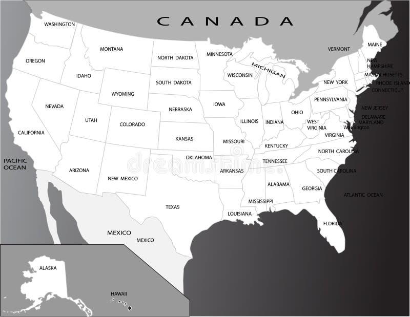 mapa polityczni usa