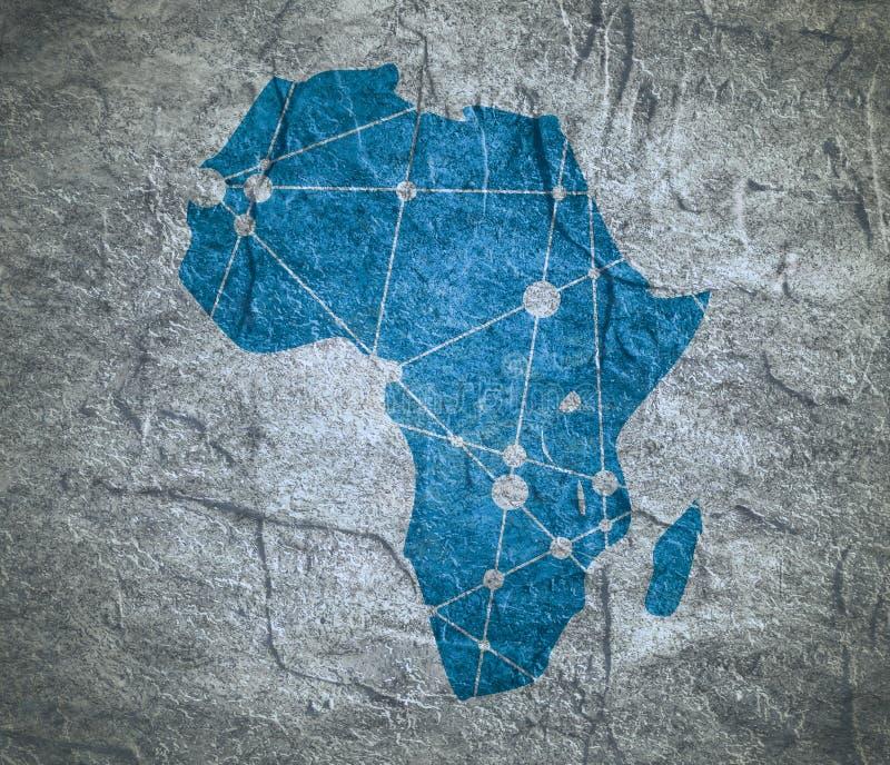 Mapa polivinílico bajo de África ilustración del vector