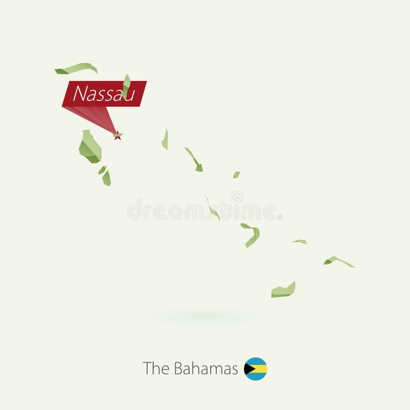 Mapa polivinílico bajo de la pendiente verde de las Bahamas con la capital Nassau ilustración del vector