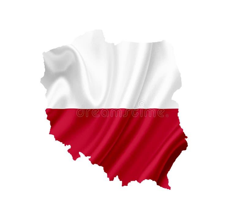 Mapa Polska z falowanie flag? odizolowywaj?c? na bielu fotografia royalty free