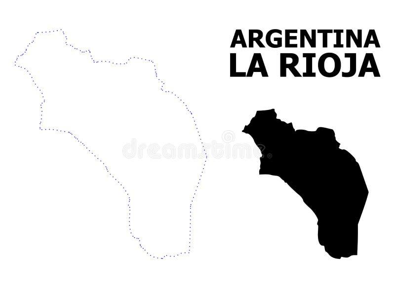 Mapa pontilhado contorno do vetor de Argentina - La Rioja com subtítulo ilustração do vetor