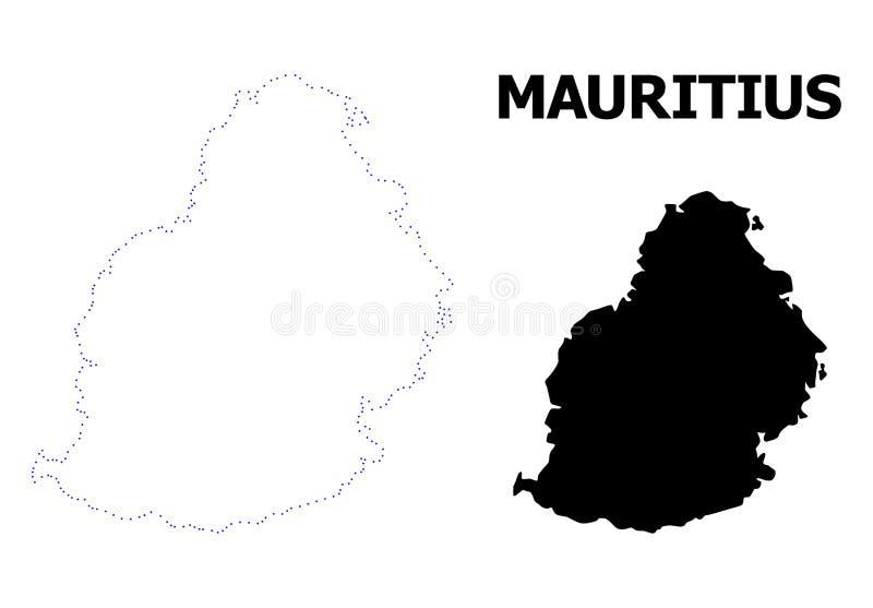 Mapa pontilhado contorno do vetor de Mauritius Island com nome ilustração do vetor