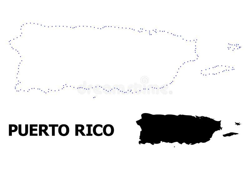 Mapa pontilhado contorno do vetor de Porto Rico com nome ilustração royalty free