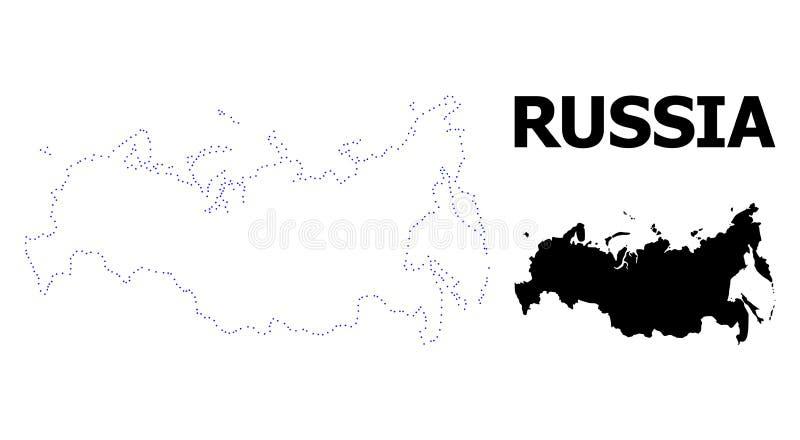 Mapa pontilhado contorno do vetor de Rússia com subtítulo ilustração stock