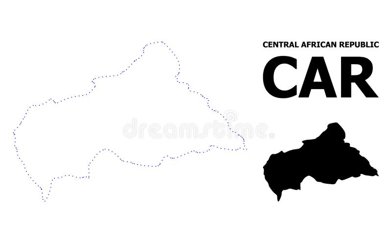 Mapa pontilhado contorno do vetor de Rep?blica Centro-Africana com subt?tulo ilustração do vetor