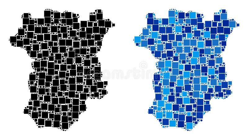 Mapa pontilhado de Chechnya com variação azul ilustração do vetor
