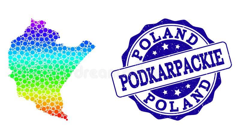 Mapa pontilhado do arco-íris da província de Podkarpackie e do selo do selo do Grunge ilustração stock