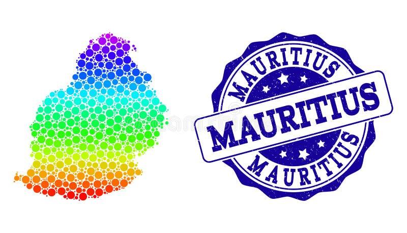 Mapa pontilhado do arco-íris de Mauritius Island e do selo do selo do Grunge ilustração royalty free
