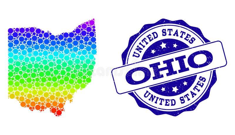 Mapa pontilhado do arco-íris do estado de Ohio e do selo do selo do Grunge ilustração royalty free
