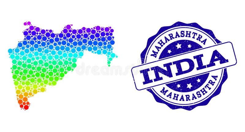 Mapa pontilhado do arco-íris do estado do Maharashtra e do selo do selo do Grunge ilustração do vetor