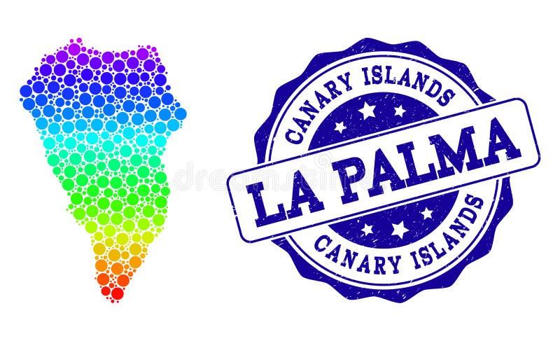 Mapa pontilhado do arco-?ris do La Palma Island e do selo do selo do Grunge ilustração royalty free