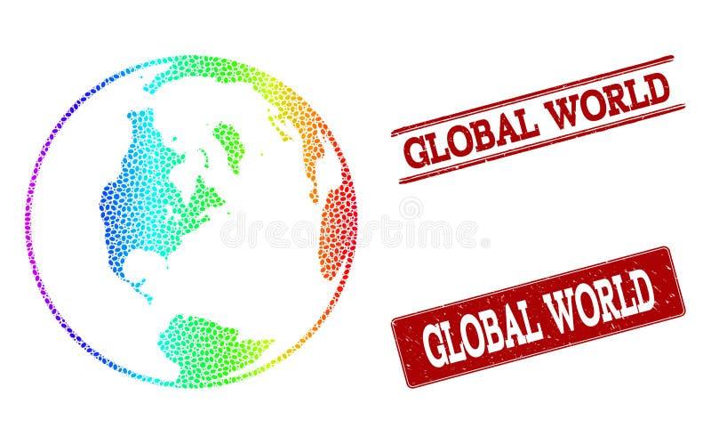 Mapa pontilhado do espectro de selos globais do selo do mundo e do Grunge ilustração stock