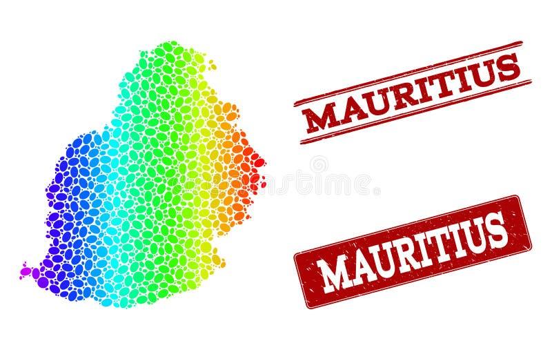 Mapa pontilhado do espectro de selos do selo de Mauritius Island e do Grunge ilustração royalty free