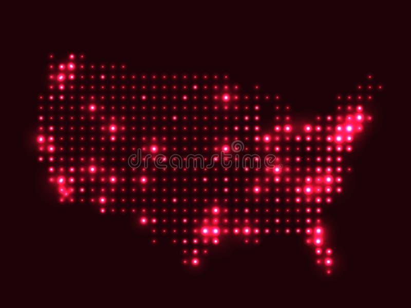 Mapa pontilhado dos EUA ilustração stock