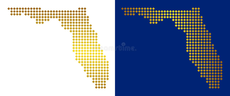 Mapa pontilhado dourado de Florida ilustração stock