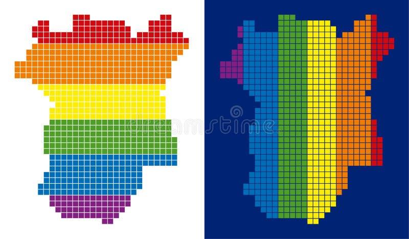 Mapa pontilhado pixel de Chechnya do espectro ilustração royalty free
