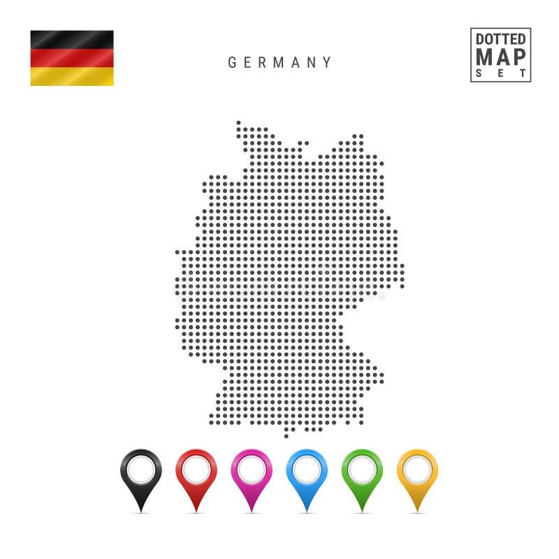 Mapa pontilhado vetor de Alemanha Silhueta simples de Alemanha A bandeira nacional de Alemanha Marcadores coloridos do mapa ilustração do vetor