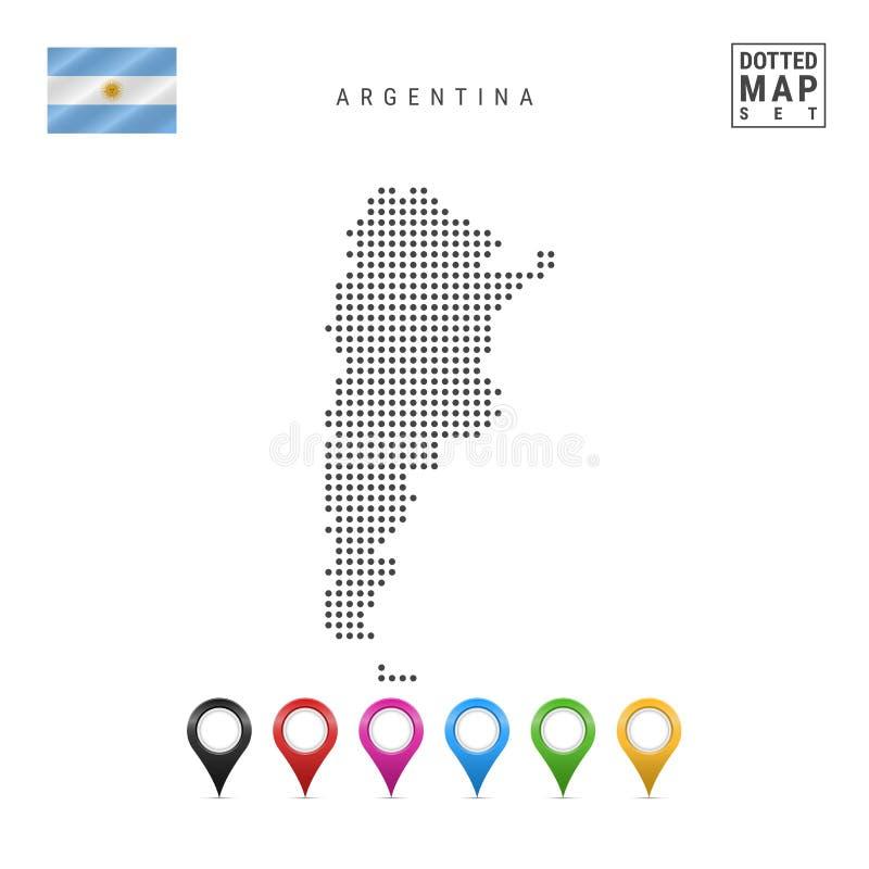 Mapa pontilhado vetor de Argentina Silhueta simples de Argentina Bandeira de Argentina Grupo de marcadores coloridos do mapa ilustração do vetor