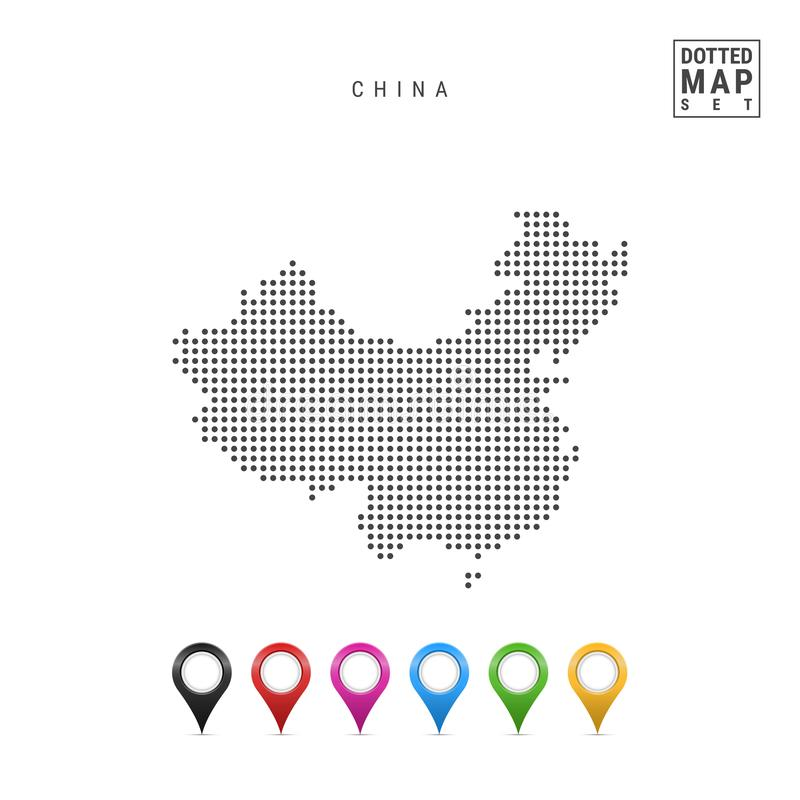 Mapa pontilhado vetor de China Silhueta simples de China Grupo de marcadores coloridos do mapa ilustração royalty free