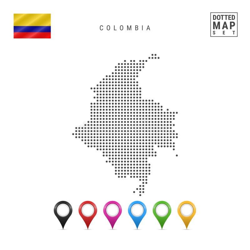 Mapa pontilhado vetor de Colômbia Silhueta simples de Colômbia Bandeira nacional de Colômbia Grupo de marcadores coloridos do map ilustração stock