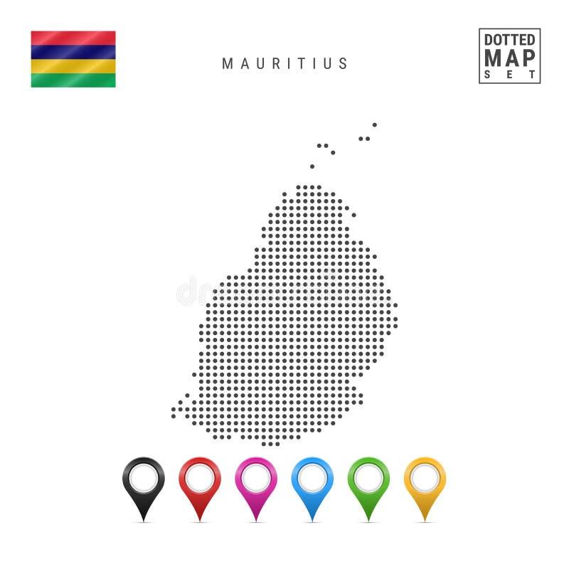 Mapa pontilhado vetor de Maurícias Silhueta simples de Maurícias A bandeira nacional de Maurícias Marcadores coloridos do mapa ilustração do vetor