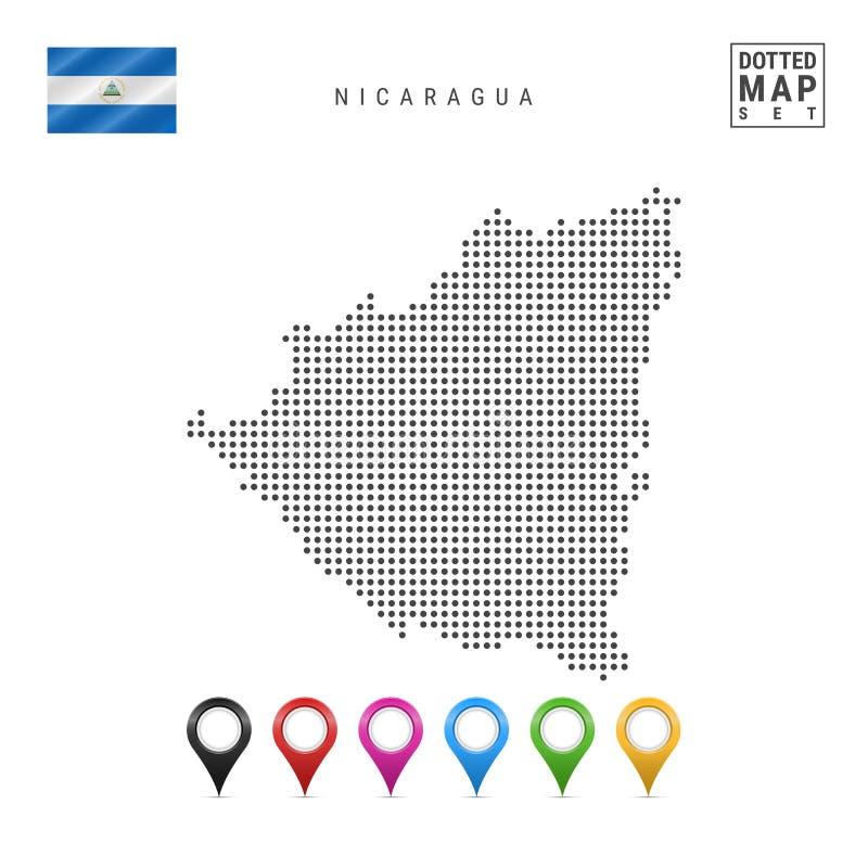 Mapa pontilhado vetor de Nicarágua Silhueta simples de Nicarágua Bandeira nacional de Nicarágua Marcadores coloridos do mapa ajus ilustração do vetor