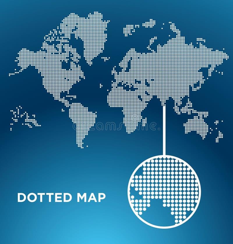 Mapa pontilhado vetor do mundo ilustração royalty free