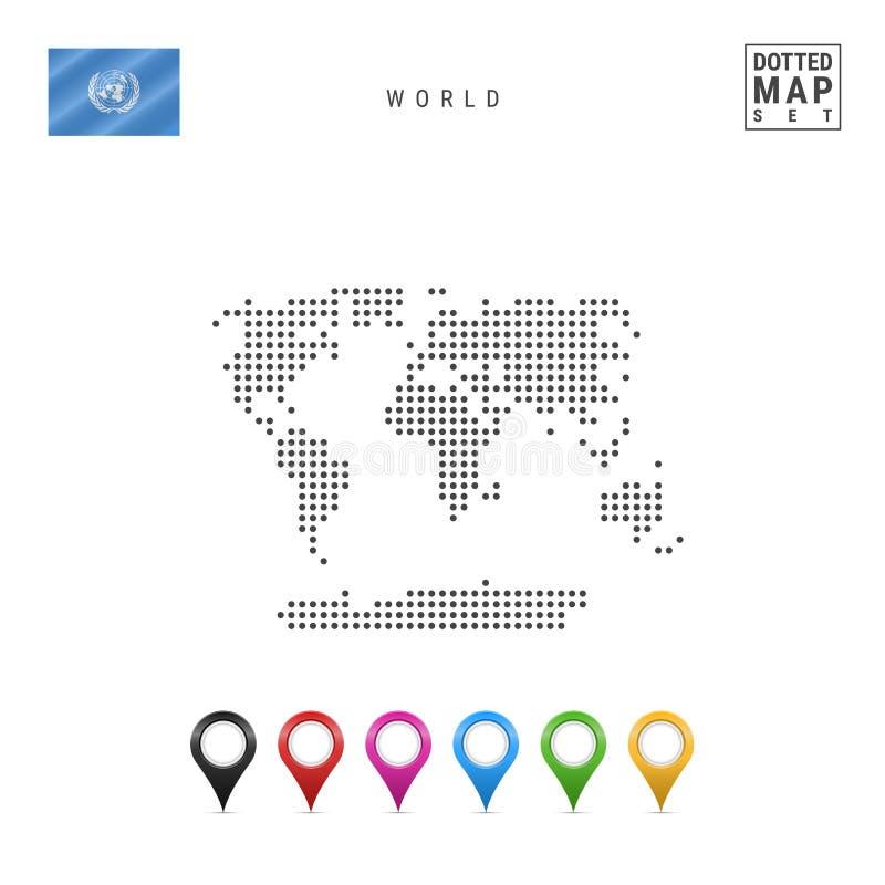 Mapa pontilhado vetor do mundo Contorno simples do mundo Bandeira dos United Nations Grupo de marcadores coloridos do mapa ilustração royalty free