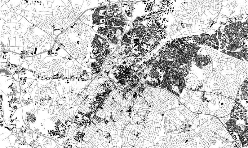Mapa por satélite de Charlotte, Carolina del Norte, calles de la ciudad EE.UU. ilustración del vector