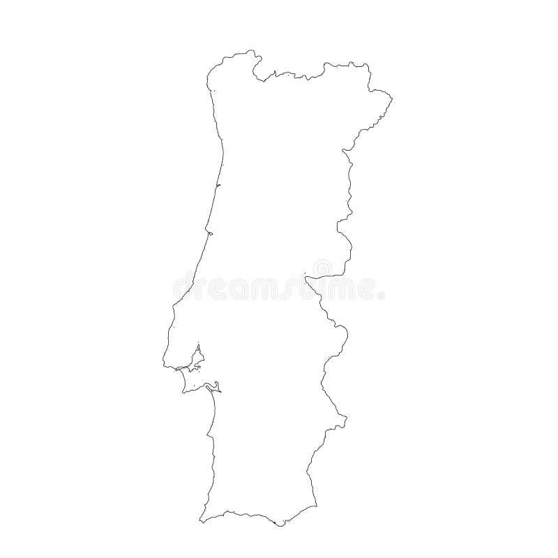 Mapa Portugal do vetor Ilustra??o isolada do vetor Preto no fundo branco ilustração stock