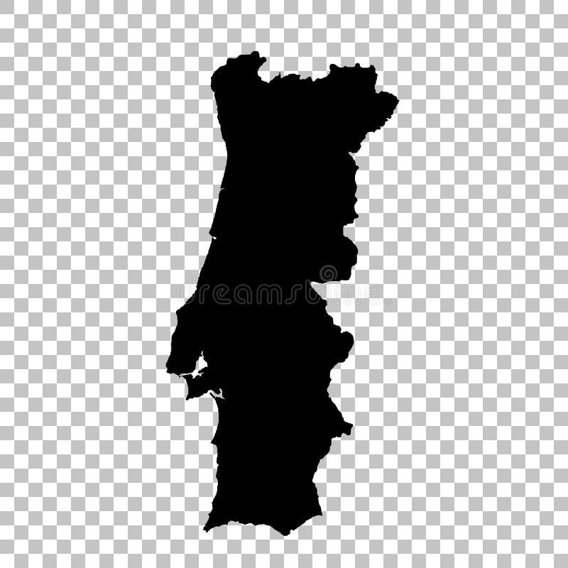 Mapa Portugal do vetor Ilustra??o isolada do vetor Preto no fundo branco ilustração royalty free