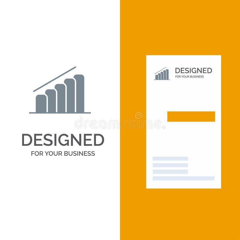 Mapa, postęp, raport, analiza logo Popielaty projekt i wizytówka szablon, ilustracji