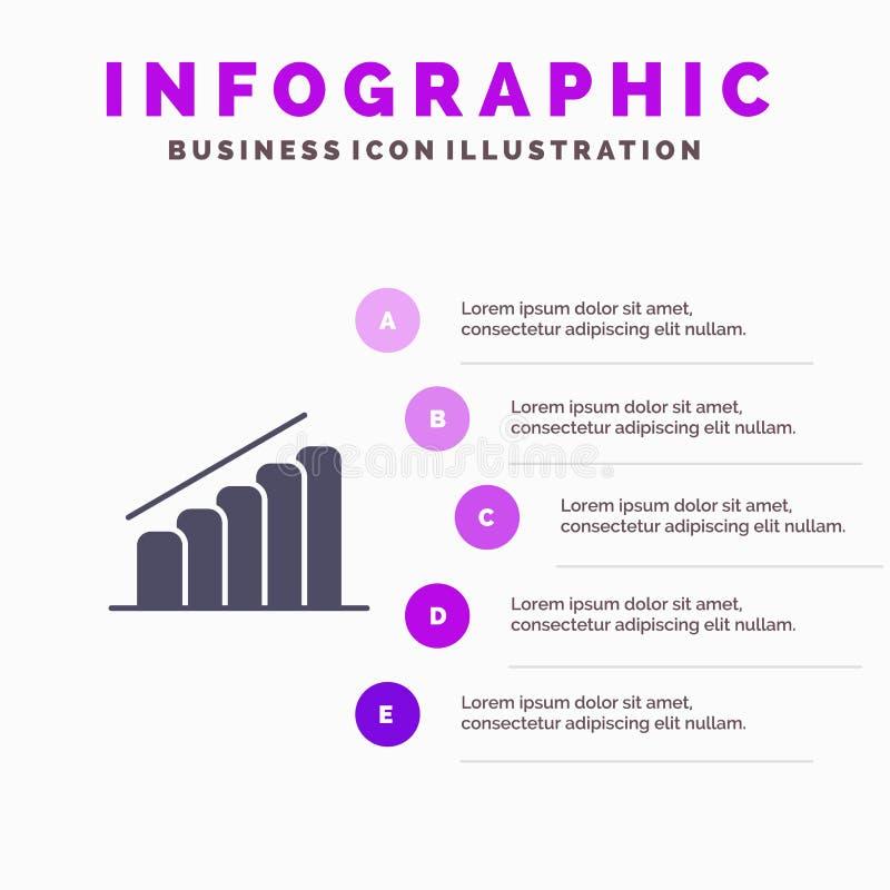 Mapa, postęp, raport, analizy ikony Infographics 5 kroków prezentacji Stały tło royalty ilustracja
