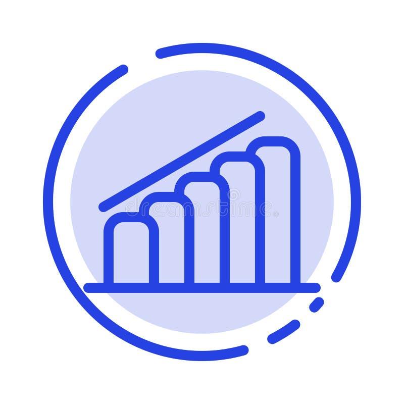 Mapa, postęp, raport, analizy linii linii błękit Kropkująca ikona ilustracji