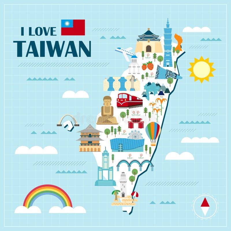 Mapa precioso del viaje de Taiwán