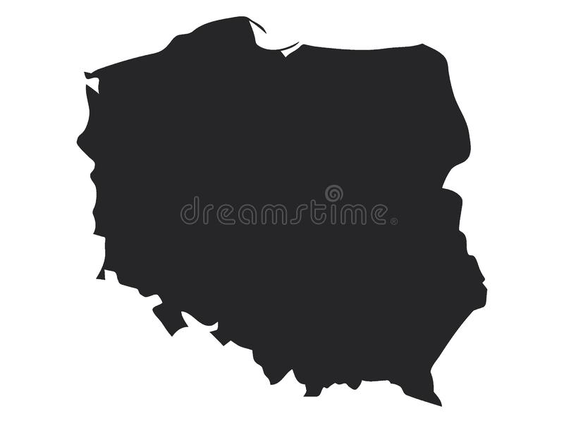 Mapa preto do Polônia ilustração stock