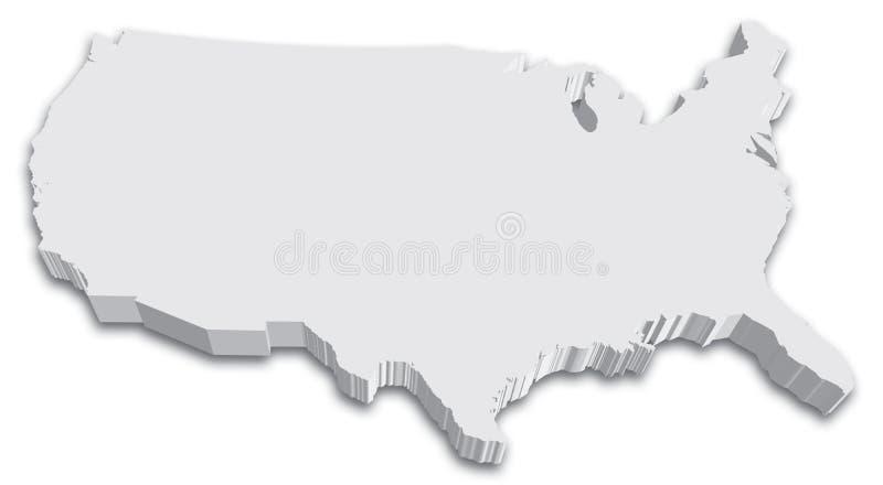 Mapa preto e branco do estado dos E.U. 3D ilustração stock
