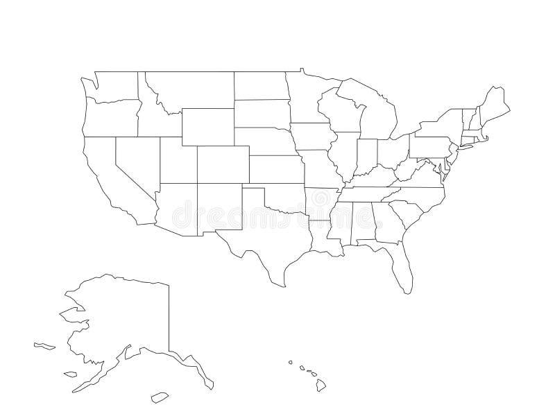 Mapa preto vazio do esboço do vetor de EUA, Estados Unidos da América ilustração do vetor