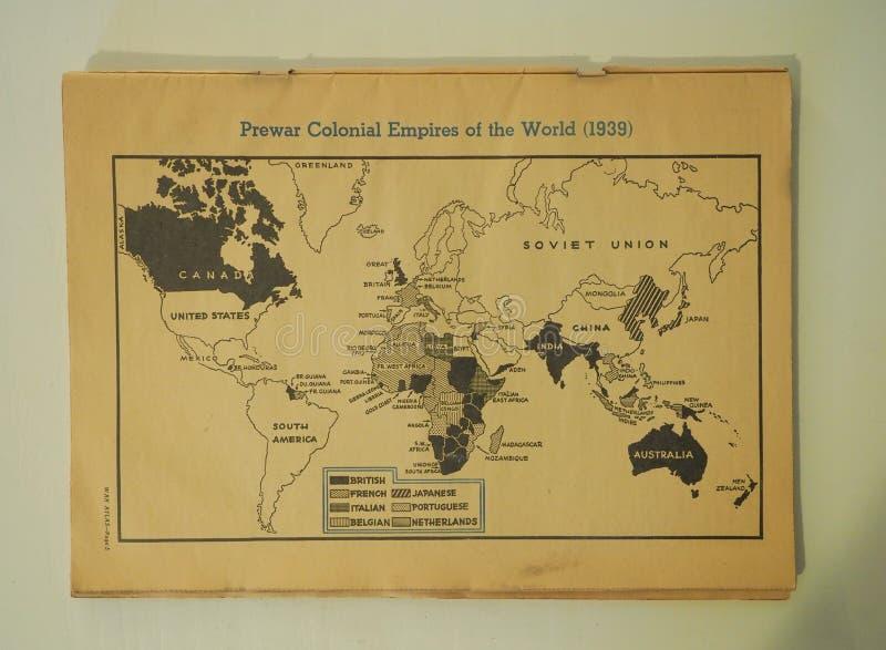 Mapa Przedwojenni Kolonialni imperia 1939 jak obrazy royalty free