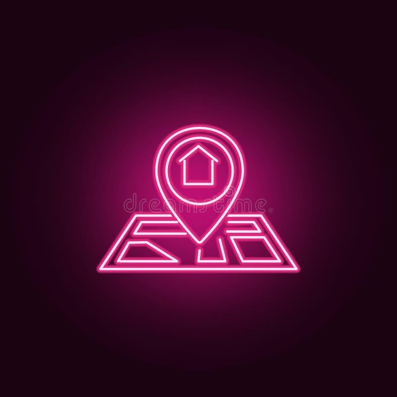 Mapa punktu neonowa ikona Elementy Real Estate set Prosta ikona dla stron internetowych, sie? projekt, mobilny app, ewidencyjne g royalty ilustracja