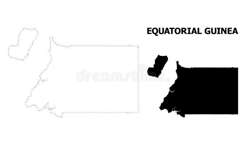 Mapa punteado contorno del vector de la Guinea Ecuatorial con el subtítulo ilustración del vector