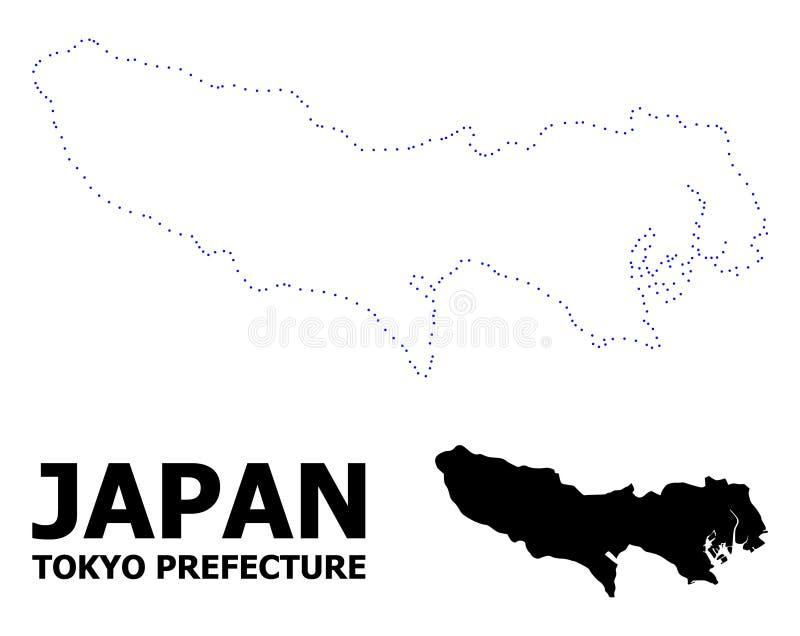 Mapa punteado contorno del vector de la prefectura de Tokio con nombre ilustración del vector