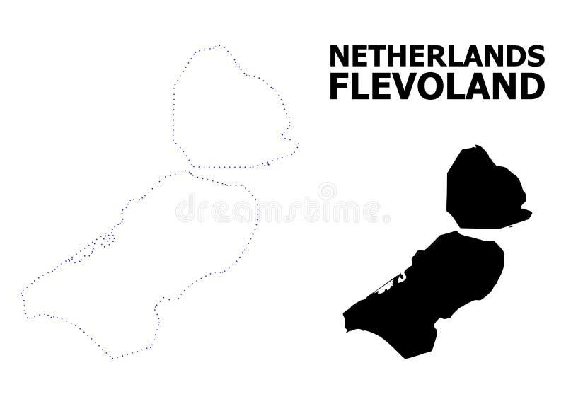 Mapa punteado contorno del vector de la provincia de Flevolanda con nombre ilustración del vector