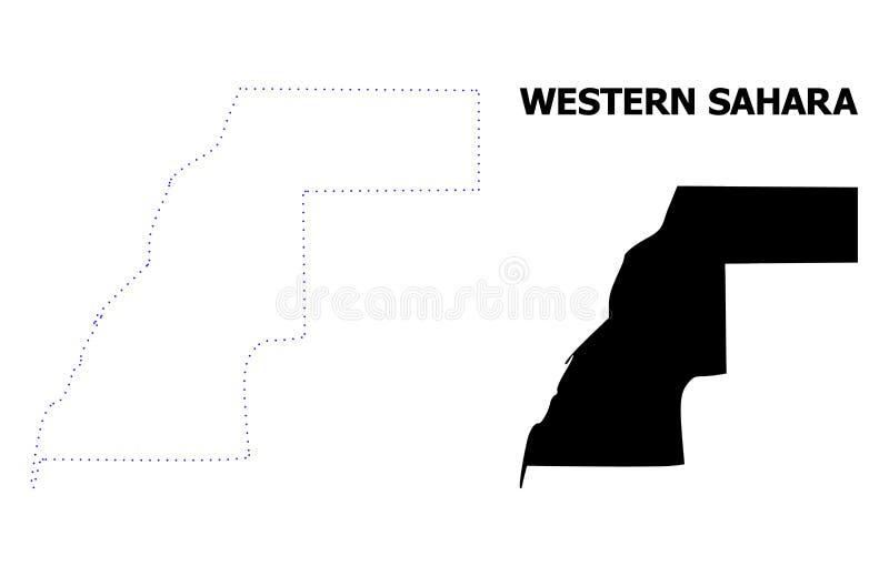 Mapa punteado contorno del vector de Western Sahara con nombre ilustración del vector